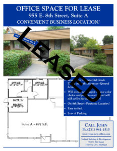 Commercial Office for Lease in Traverse City, Michigan. 955-E-8th-Street-Traverse-City-Michigan Noland Building & Development.
