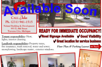 Traverse City Business Office for Lease. 1305 8th St. Suite B. Noland Building and Development.