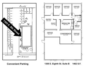 Traverse City Business Office for Lease. 1305 8th St. Suite B Floor Plan. Noland Building and Development.